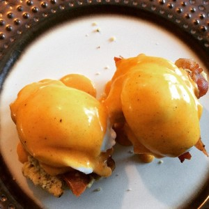 This is what our first attempt at hollandaise looked like when poured over poached eggs, bacon and grain-free biscuits. NOM NOM NOM