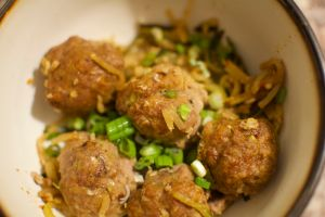 Zoodles and Pork Ginger Meatballs
